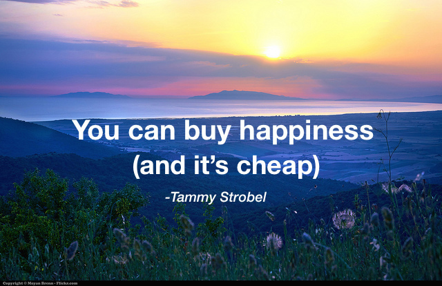 Sunset by Moyan Brenn with quote You can buy happiness, and it's cheap, by Tammy Strobel
